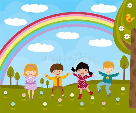 immagini clipart bambini bambini in primavera illustrazione vettoriale