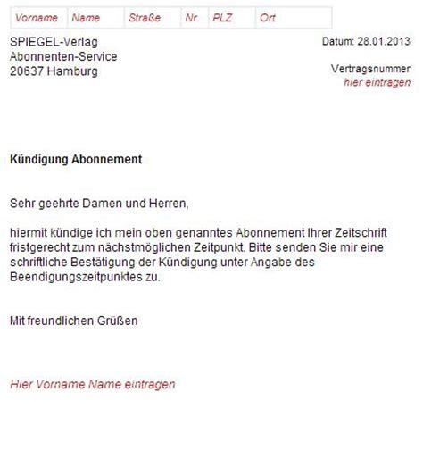 Word Vorlage Kündigung Zeitschriften Abo Der Spiegel K 252 Ndigung Erstellen Und Abschicken
