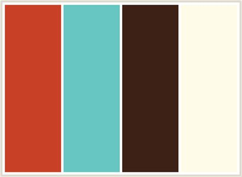 teal color schemes colorcombo5218 with hex colors c84127 67c5c2 3d2117 fefce8