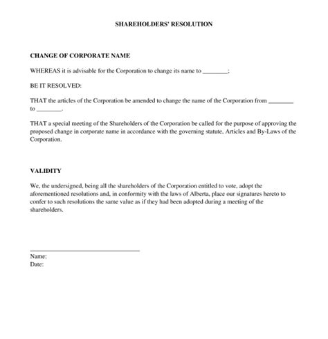 Resolution Of Shareholders Template Word Pdf Shareholder Resolution Template