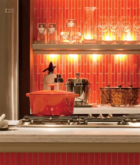 orange backsplash tile bold orange backsplash contemporary kitchen other