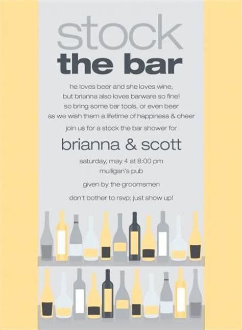 stock the bar invitation templates wedding show with