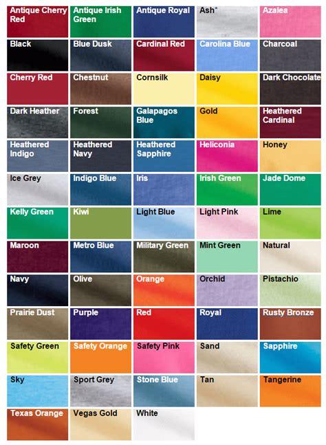 gildan color swatch gildan ultra cotton 6 1 oz 100 cotton t shirt