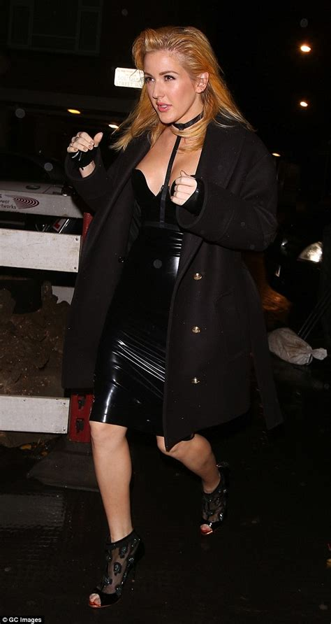 ellie goulding channels kim kardashian in latex dress for