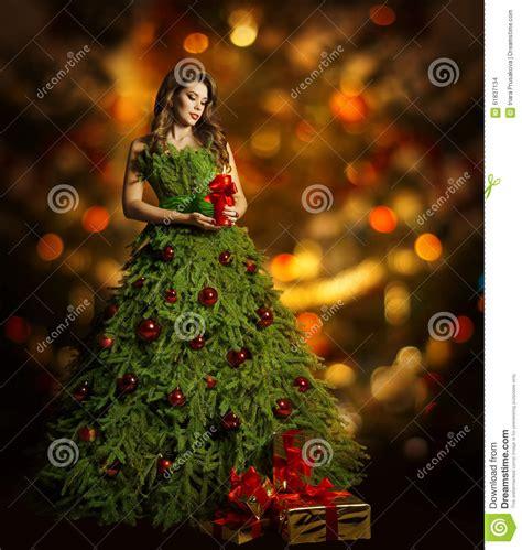 christmas tree woman fashion dress model girl xmas