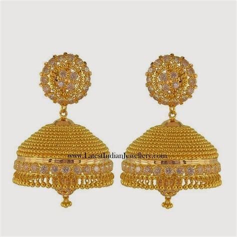 gold jhumka pattern gold cz jhumka earring designs earrings gold earrings