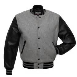 grey wool and black leather letterman jacket c128