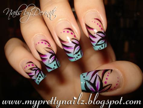 painted fingernail designs my pretty nailz ombre tips with painted flower