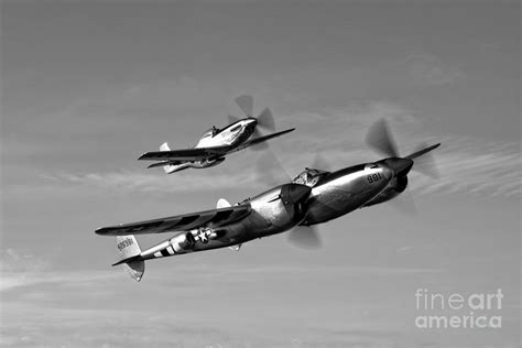 a p 38 lightning and p 51d mustang photograph by germain