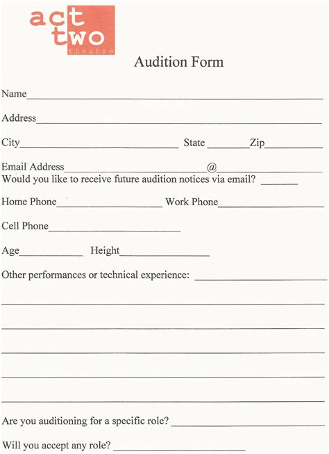 audition form act two theatre