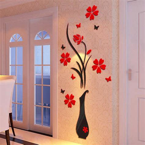 home decor 3d stickers diy vase flower tree crystal arcylic 3d wall stickers decal home decor eur 4 26 picclick ie