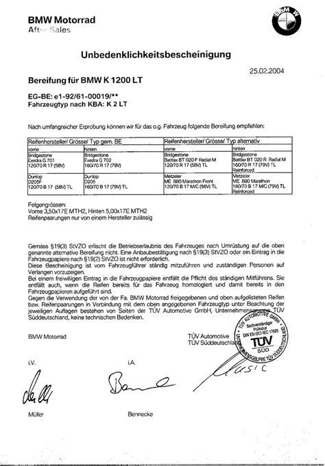 Motorrad Reifenfreigaben by K1200lt Reifenfreigaben Bmw Bike Forum