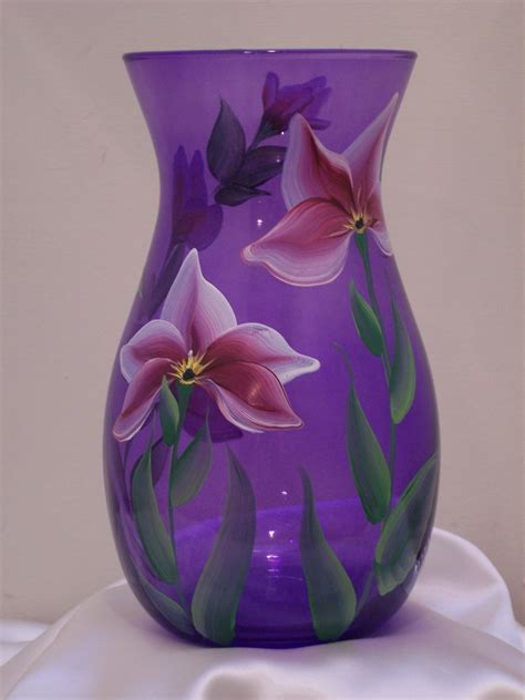 Purple Glass Vases by Purple Glass Vase With Lilies