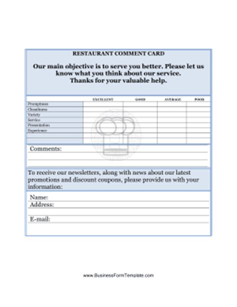 Restaurant Comment Card Template Customer Card Template