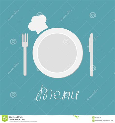 Blue Plate Kitchen Menu by Fork Plate Knife And Chefs Hat Menu Card Flat Royalty