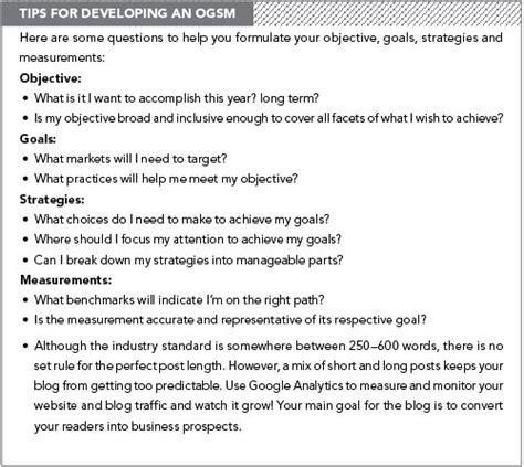 ogsm strategic planning template  develop  creative goals creative strategic