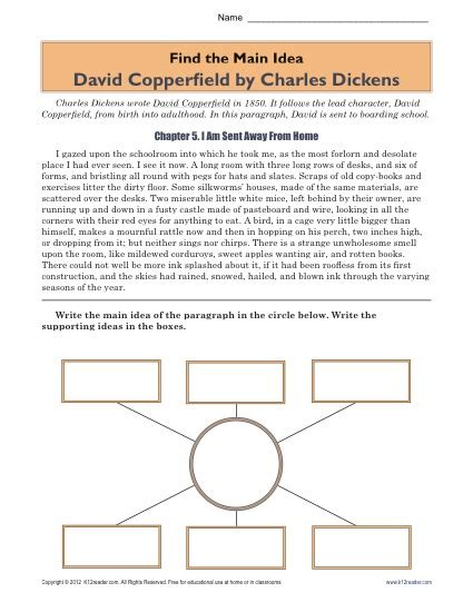 printable worksheets main idea and supporting details high school main idea worksheet about the book david