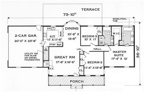 One Story Floor Plans by Great One Story 7645 3 Bedrooms And 2 5 Baths The