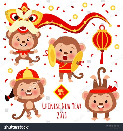 new year monkey characters vector set of characters and icons for the new