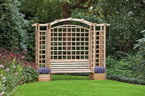 bench with trellis trellis arbour with planters