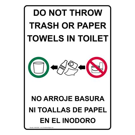 translate to spanish where is the bathroom do not throw trash or paper towels in toilet bilingual