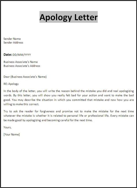 Letter Of Apology Apology Letter Template Free Word S Templates