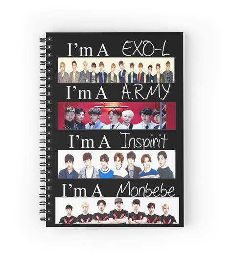 Notebook Exo quot exo bts infinite and monsta x i m a fan quot spiral notebooks by casperhasnojams redbubble