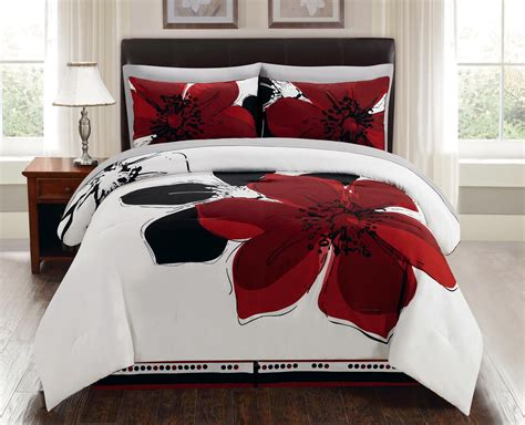 gray and red bedding 8 piece burgundy red black white grey floral comforter bed