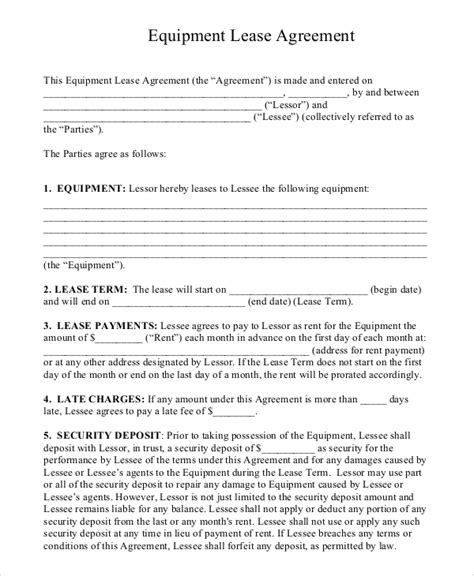 Equipment Lease Agreement Template 16 equipment rental agreement templates free sle exle format free premium