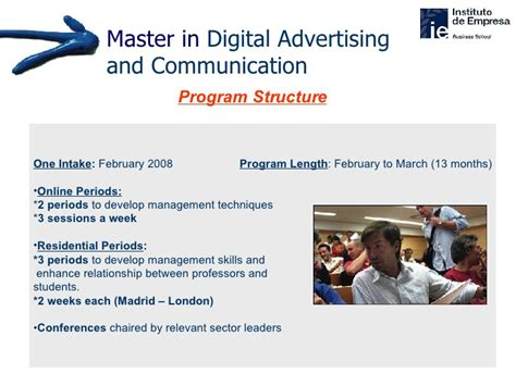 Ie Mba Program Structure by Master In Digital Advertising Communication Ie Business