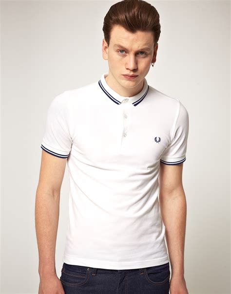 T Shirt Polo Fred Ferry fred perry fred perry slim fit micro collar polo shirt in white for lyst