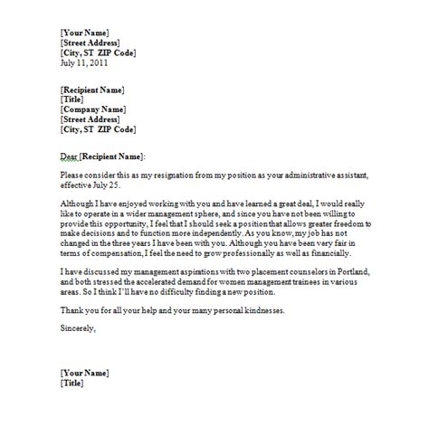 sle resignation letter free printable documents