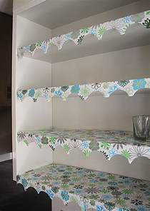Cabinet Liner Ideas Shelf Lining Paper With A Simple Decorative Edge