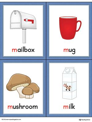 5 Letter Words Dairy letter m words and pictures printable cards mailbox mug