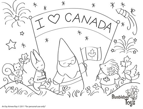 canada day coloring kids
