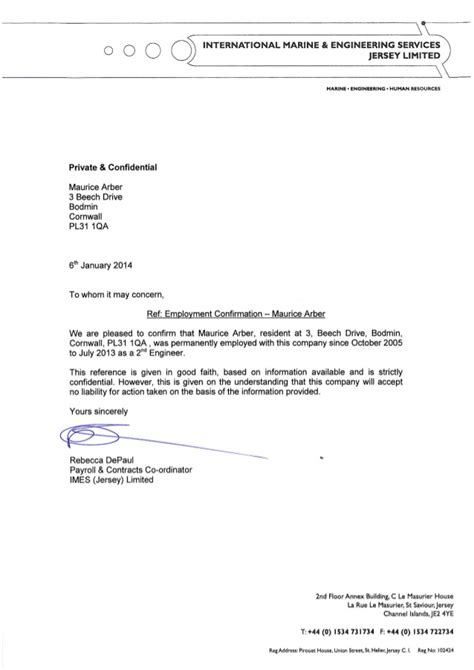 Recommendation Letter For Employee Confirmation Employee Confirmation Letter Maurice Arber 6jan14 2