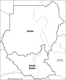 Blank Map Of Sudan by Outline Map Sudan And South Sudan Enchantedlearning Com