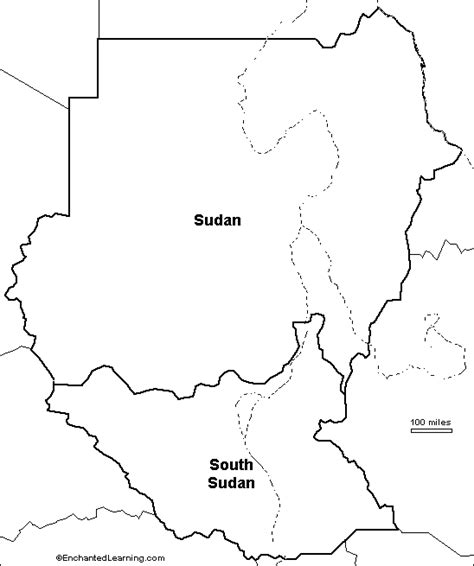 South Sudan Map Outline by Outline Map Sudan And South Sudan Enchantedlearning