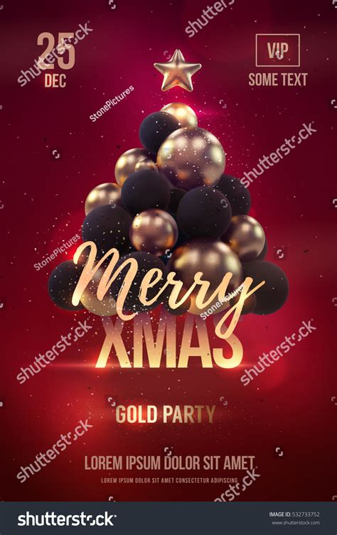 Christmas Poster Flyer Template Golden Christmas Stock Vector 532733752 Shutterstock Tree Lighting Flyer Template