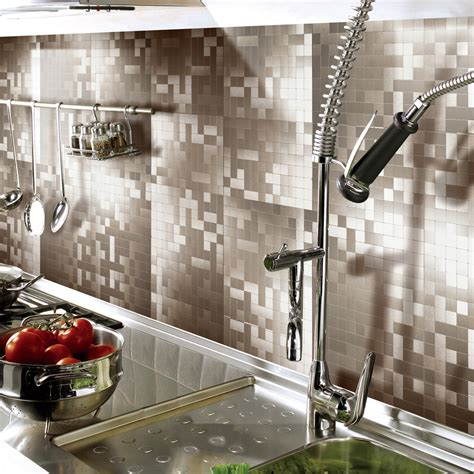 stick on kitchen backsplash peel stick metal tiles for kitchen backsplashes copper