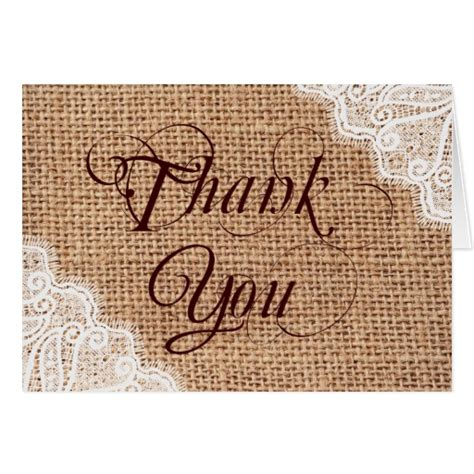 Burlap And Lace Thank You Cards