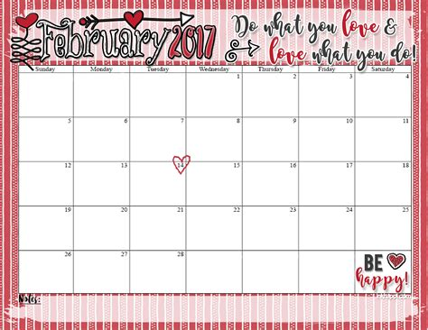 February Calendar February 2017 Calendar What You Do Inkhappi