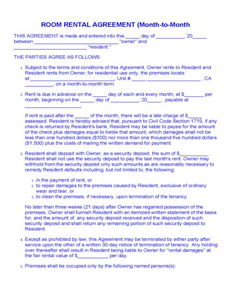 month to month rental agreement template room rental agreement month to month free