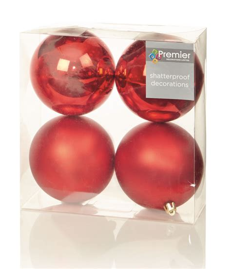 4 10cm large baubles bauble matt shiny christmas tree