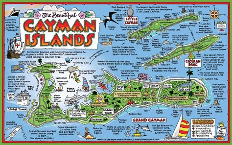 printable map grand cayman island cayman islands tourist map