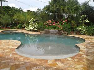Backyard Pool Landscaping Ideas Beach Entry Pool Designs Home Services Swimming Pools