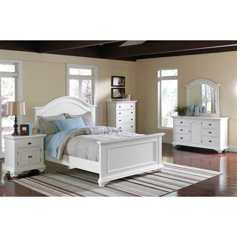 6 Size Bedroom Set by Elements International Brook White Panel Bedroom Set