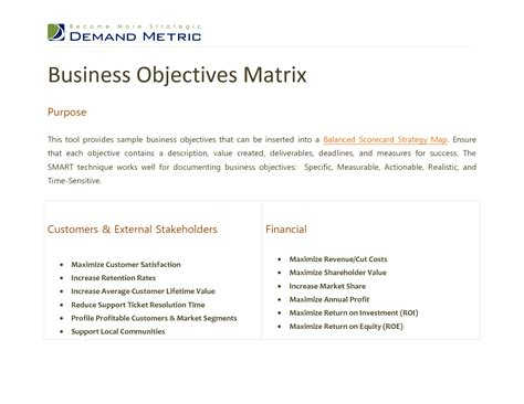 business goals and objectives template best photos of