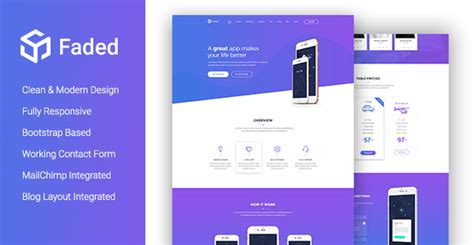 landing page templates for blogger faded creative app landing page template with blog rtl