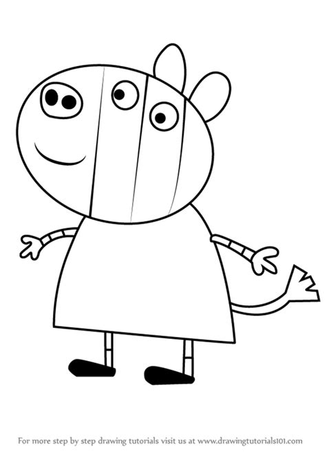 zoe zebra coloring page step by step how to draw zoe zebra from peppa pig